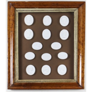 Antique Maple framed Collection 14 Grand Tour Classical Intaglios 19th C