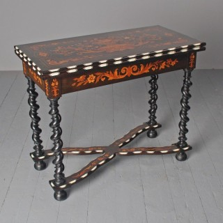 North Italian Marquetry and Ebonised Walnut Games Table