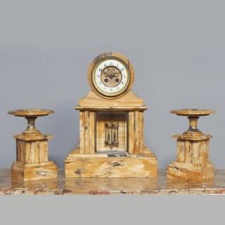 Sienna Marble Clock Garniture
