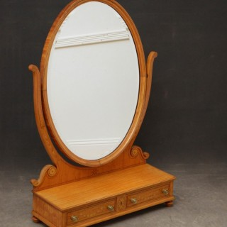 Large Sheraton Style Satinwood Dressing Mirror