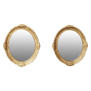 Victorian Pair of Carved Gesso and Gilded Oval Wall Mirrors
