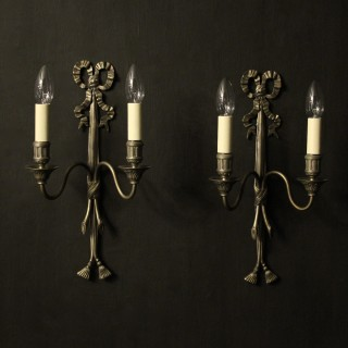 French Silver Gilded Twin Arm Wall Lights