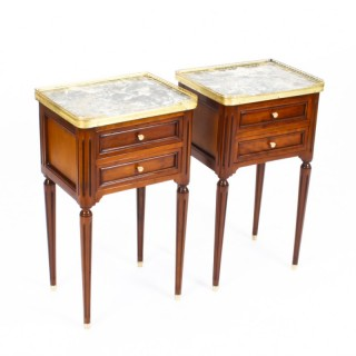 Antique Pair French Empire Style Bedside Cabinets 19th Century
