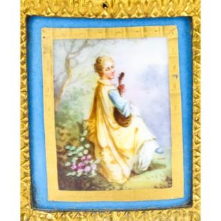 Antique Pair Sevres Bleu Celeste Porcelain & Ormolu Candelabra 19th C