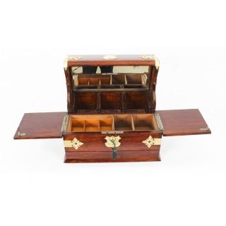 Antique English Victorian Oak Three Crystal Decanter Tantalus Dry Bar 19th C