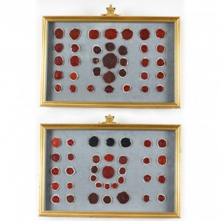 Antique Pair of Framed Grand Tour Wax Seals Early 18th Century