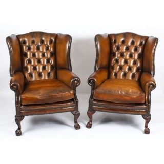 Antique Pair Leather Chippendale Wingback Armchairs c.1920