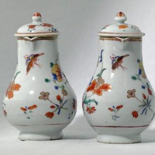 Chinese Qianlong Pair of Famille Rose Sparrow beak Jugs