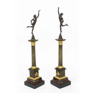 Antique Pair of Bronzes of Mercury & Fortuna After Giambologna & Fulconis 19th C