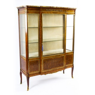 Antique French Kingwood Parquetry Ormolu Mounted Vitrine Cabinet 19th C