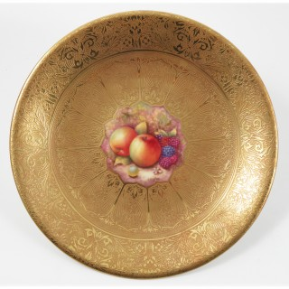 Antique Pair of Royal Worcester Acid Gilt plates Mid 20th c