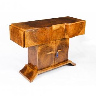 Antique Art Deco Burr Walnut Console Table Sideboard by Salaman Hille c.1930