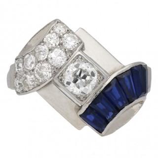 Art Deco diamond and sapphire ring, circa 1925.