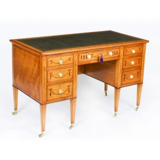 Antique Inlaid Satinwood Writing Table Desk by Edwards & Roberts c.1880