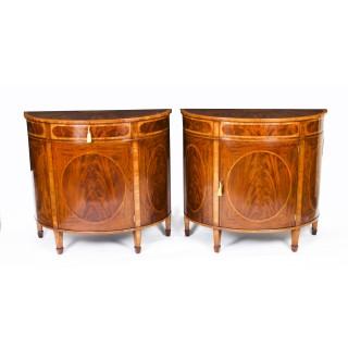 Antique Pair Edwardian Flame Mahogany Demi Lune Cabinets Circa 1900
