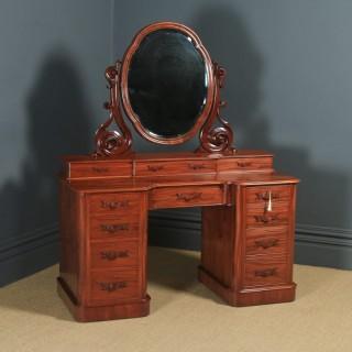 Antique English Victorian Mahogany Pedestal Dressing Table with Mirror (Circa 1870)