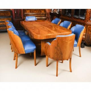 Antique Art Deco Burr Walnut Dining Table & 8 Cloud Back Chairs C1930