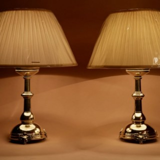 A Pair Of Very Decorative Neo Gothic Brass Table Lamps.