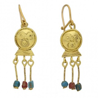 Ancient Roman gold earrings with bead drops, circa 1st-3rd century AD.