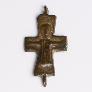 Byzantine Enkolpion Cross Fragment with Christ