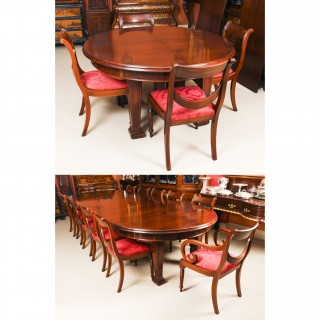 Antique Metamorphic Mahogany Jupe Dining Table & 12 Chairs 19th C