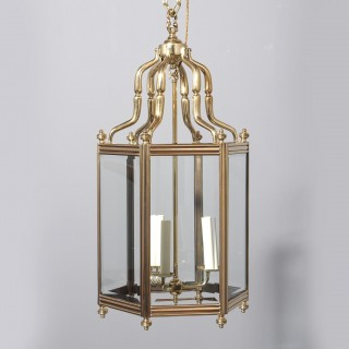 Victorian Cast Brass and Copper Hall Lantern