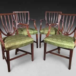 Set of four Hepplewhite Period Mahogany Salon Armchairs