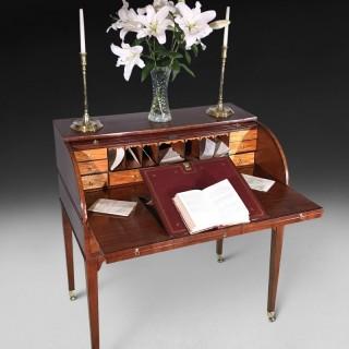 George III Mahogany and Satinwood Tambour Writing Table