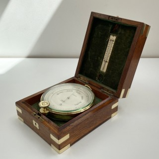 Edwardian Oak Cased Surveyors Aneroid Barometer by Ross London with Early Snooker Award