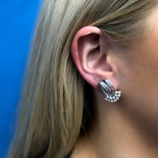 Vintage diamond earrings, circa 1960.