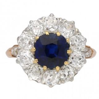 Belle Époque sapphire and diamond coronet cluster ring, circa 1905.