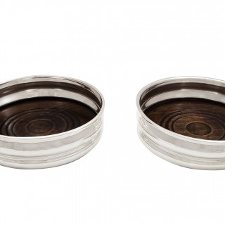 Pair of Vintage Sterling Silver Wine/Champagne Coasters 1962