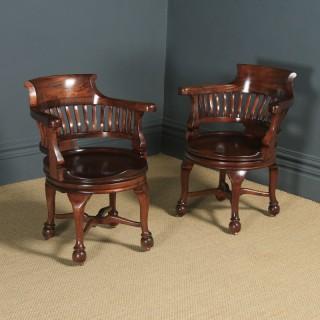 Pair of Antique English Victorian Mahogany Revolving Office Desk Arm Chairs (Circa 1880)