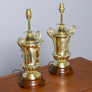 Victorian Pair of Urn Shape Cast Brass Lamps