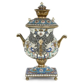 Russian vermeil model of a samovar adorned with champlevé enamel