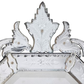Venetian floral style engraved glass mirror