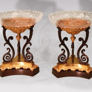 Pair of 19th century Bronze Ormolu and Glass Dishes