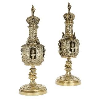Pair of Renaissance style vermeil perfume bottles