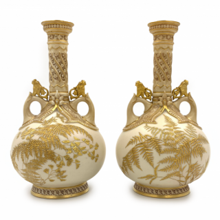 PAIR OF LATE 19TH CENTURY JAPANESE STYLE GILT DECORATED ROYAL WORCESTER PORCELAIN VASES
