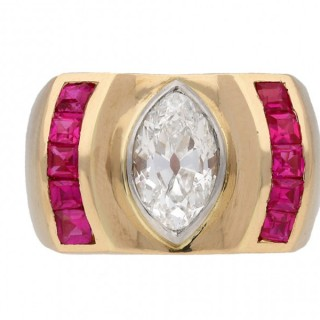 Diamond and ruby cocktail ring, French, circa 1940.
