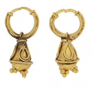 Graeco Scythian gold earrings, circa 2nd century BC- 2nd century AD.
