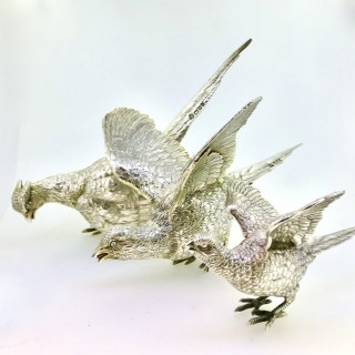 Three Large Solid Silver Table Pheasants