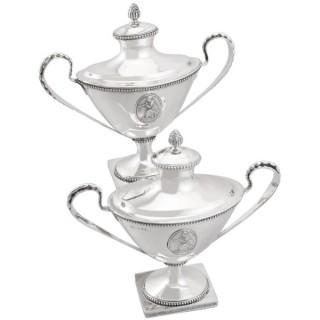 Swedish Silver Sauce Tureens - Antique 1791