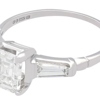 1.75 ct Diamond and 18 ct White Gold Solitaire Ring - Vintage 1976