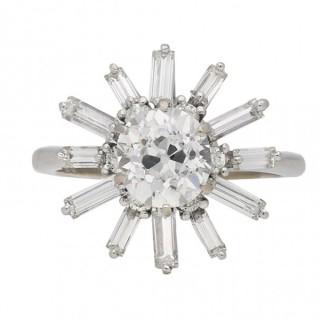 Vintage diamond coronet cluster ring, circa 1970.