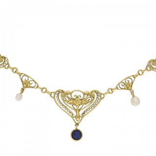 Art Nouveau sapphire and pearl necklace, French, circa 1900.