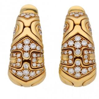 Bulgari Alveare diamond hoop earrings, Italian, circa 1988.