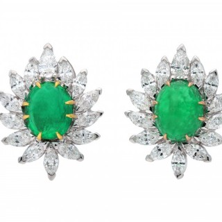 Vintage Colombian emerald and diamond cluster earrings, circa 1950.