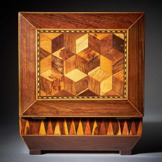 Pair of George IV Regency Specimen Wood Parquetry Boxes of Sarcophagus Shape