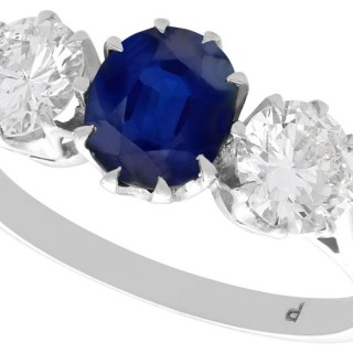 1.80ct Sapphire and 1.35ct Diamond, 18ct White Gold Trilogy Ring - Antique Circa 1935
